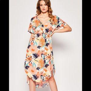 Roxy Flamingo Shades Short Sleeve Midi Dress SZ L